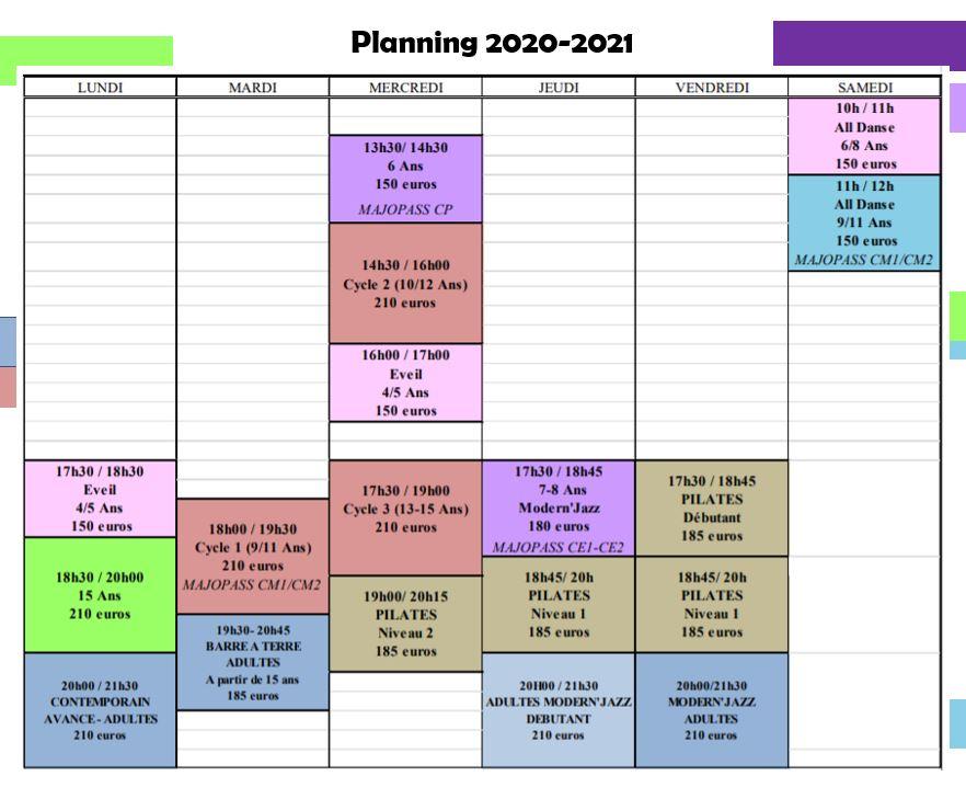 Planning 2020-21 Cours de Danse et Pilates Meyzieu